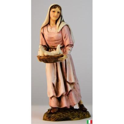 Donna con colombe Landi cm. 12