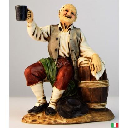 Uomo che beve vino landi cm. 12
