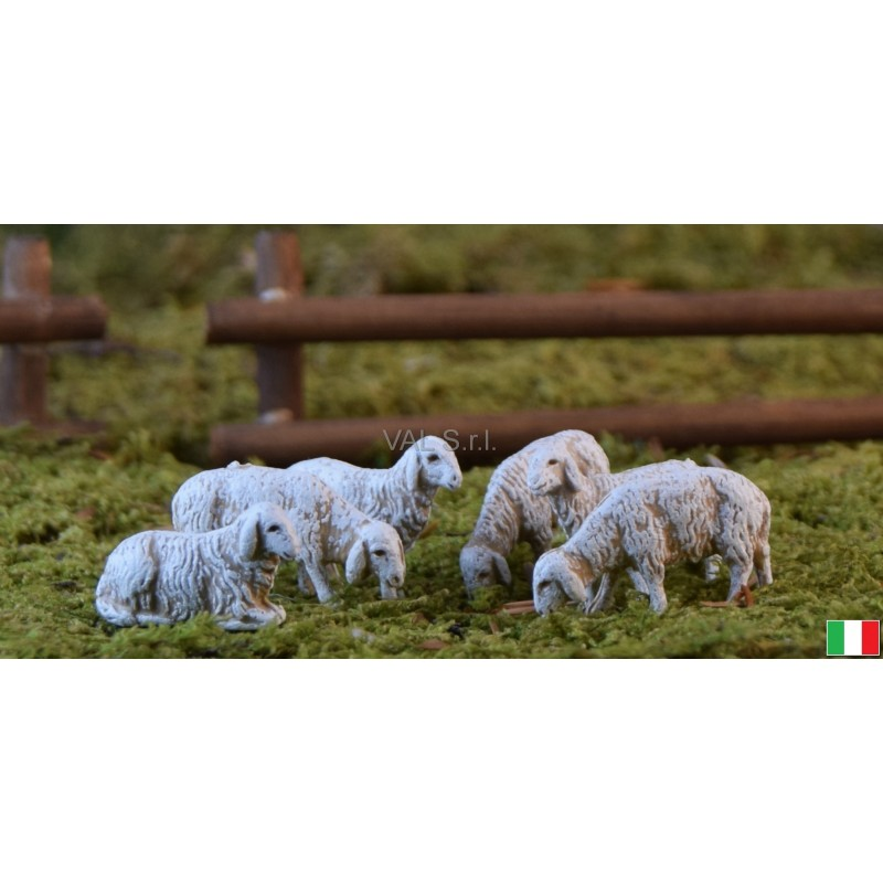 Set di 6 pecore in diverse posizioni landii cm 6,0