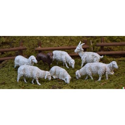set di 6 pecore un cane e...