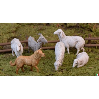set di 4 pecore un cane e una capra landi cm 13