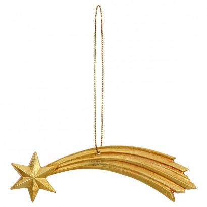 Stella cometa Val Gardena scolpita in legno dipinta a olio con filo dorato
