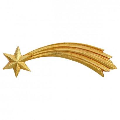 Stella cometa Val Gardena scolpita in legno dipinta a olio