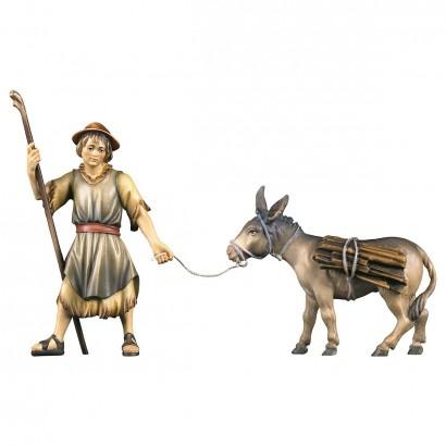 Pastore che tira con asino e legna