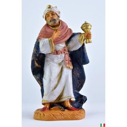 Re magio mulatto in piedi con incenso fontanini cm 12
