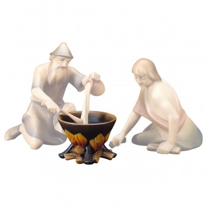 Pentola su fuoco in legno