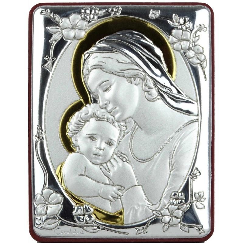 Quadro in alluminio 7x5 con Madonna e Gesù