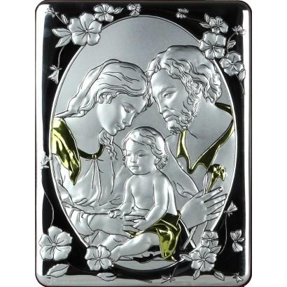 Quadro in alluminio 22x17 con Sacra Famiglia