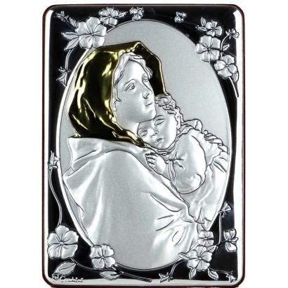 Quadro in alluminio 10x14 con Madonna e Gesù