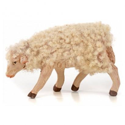 Pecora di lana in terracotta con testa china, altezza cm 3 per statuite cm 10 - 12