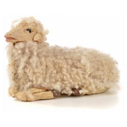 Pecora di lana in terracotta sdraiata, per statuine cm 12 - 15
