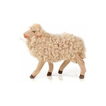Pecora di lana in terracotta con testa alzata, per statuite cm 12 - 15
