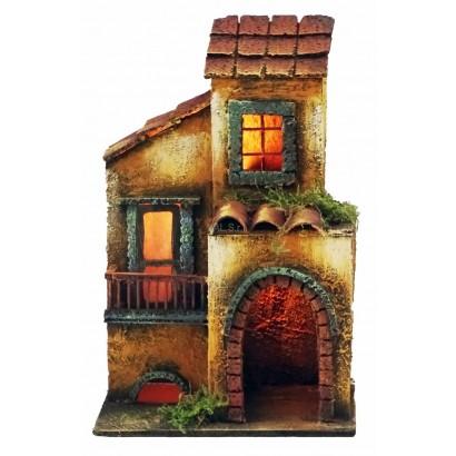 Casa doppia con luce, stile 700, cm. 17 x cm. 12 x cm. 26h