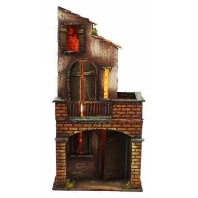 Casa con luce, stile 700, cm. 16 x cm. 15 x cm. 34h