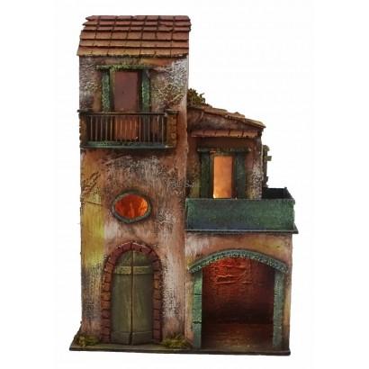 Casa doppia con luce, stile 700, cm. 30 x cm. 18 x cm. 46