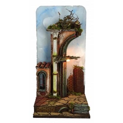 Portale Tempio con colonna, luce, fondo cielo