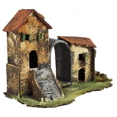 Casa doppia con arco centrale cm. 20 x cm. 12 x cm. 15h