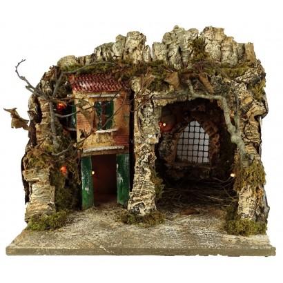 Grotta con casa laterale illuminata con luce 220w cm 37 x cm 30 x cm 35h