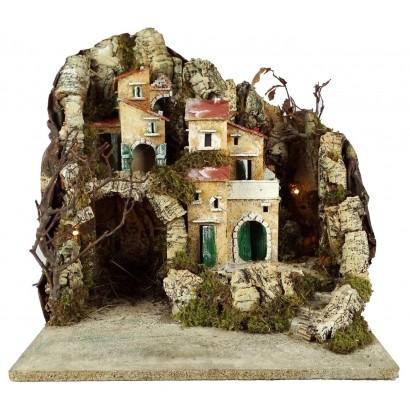 Paesaggio con grotta illuminato con luce 200w cm 40x cm 35 x cm 40h