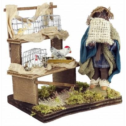 Venditore moro con gabbia di animali in terracotta cm. 10