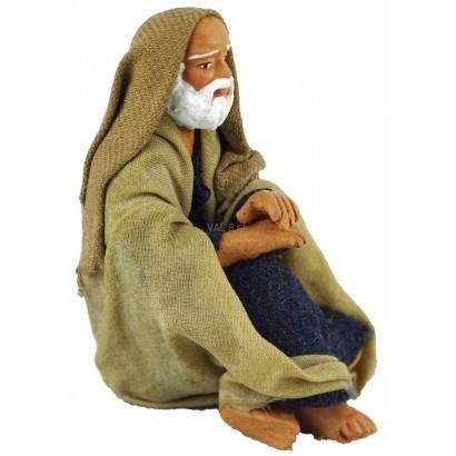Vecchio seduto in terracotta cm. 10