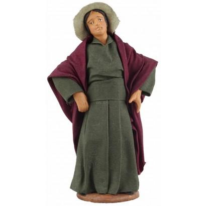 Donna con mani sui fianchi in terracotta cm. 12