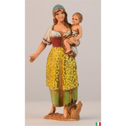 Donna con bambino in braccio landi cm. 8